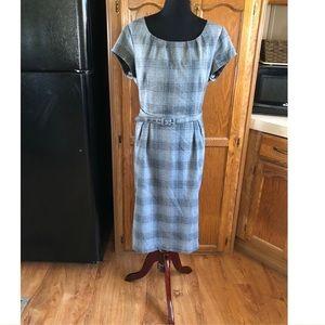 Merona Grey Plaid Belted Dress With Pockets